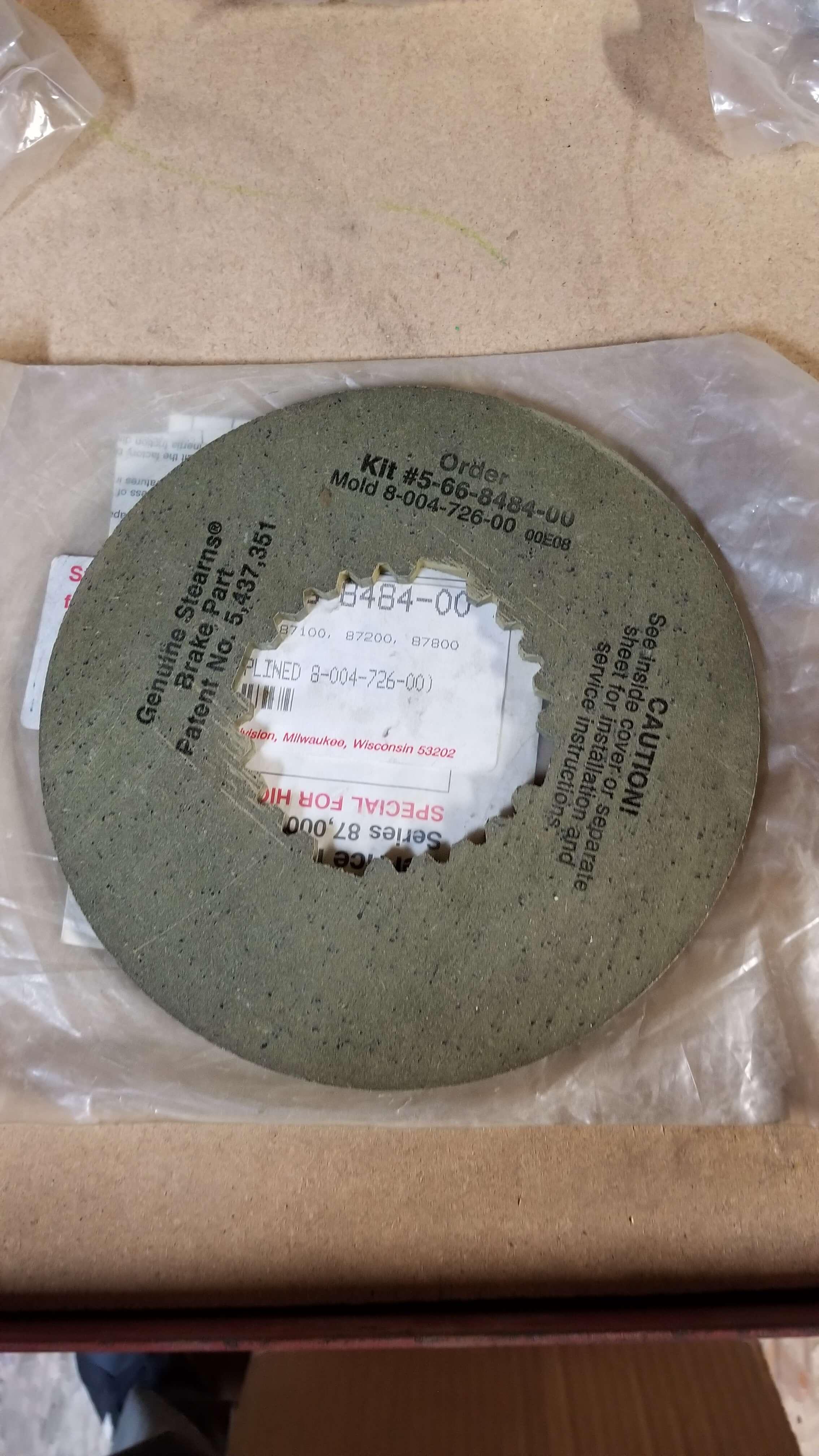 Stearns Brake Disc P/N: 5 66 8484 00 $265.00