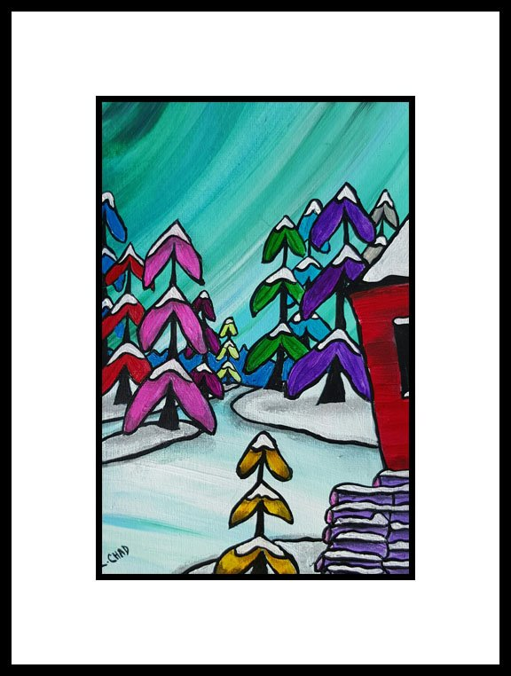 "2016-03 ""Cabin in the Woods"" Framed 10"" x 12"" Mixed media on 246 lb. paper SOLD"