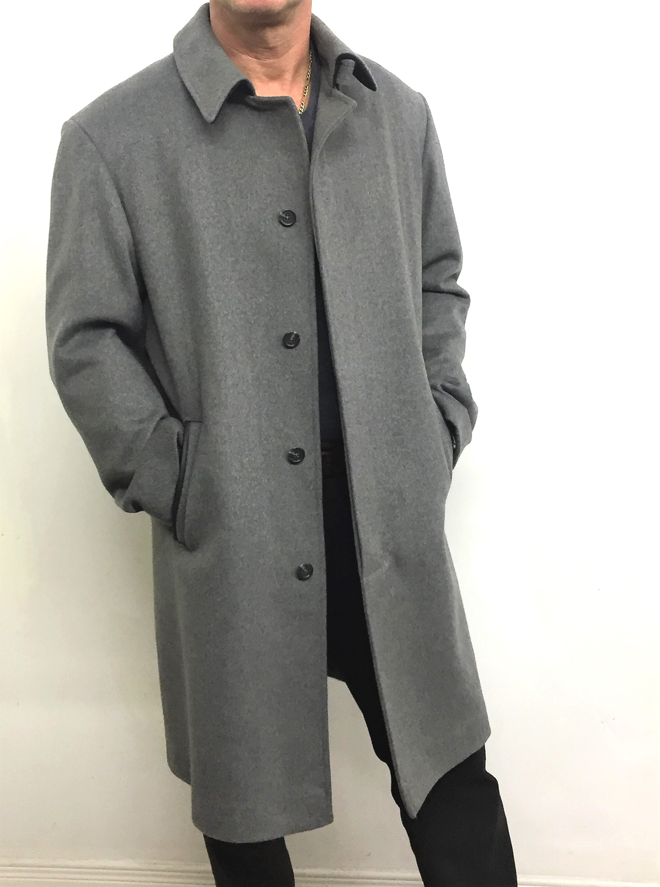 Style #M20189  Heather Grey 50% Cashmere & Wool  Features: Luxurious cashmere/wool  knee length overcoat.  Fly front button closure. Contrasting black under collar.  Genuine lambskin pockets, collar piece with belt.   In-stock colours:  Heather Grey, Black, Camel, Midnight Blue, Charcoal, Brown Tweed  Various Fabrics: 50% Cashmere Wool, Cashmere wool, 100% Wool Gabardine, 100% Wool Crepe   Sizes:  S, M, L  $ 589 and up