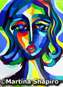 Blue Woman Expression painting by artist Martina Shapiro