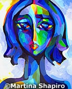 Blue Woman Portrait original painting fine art by Martina Shapiro