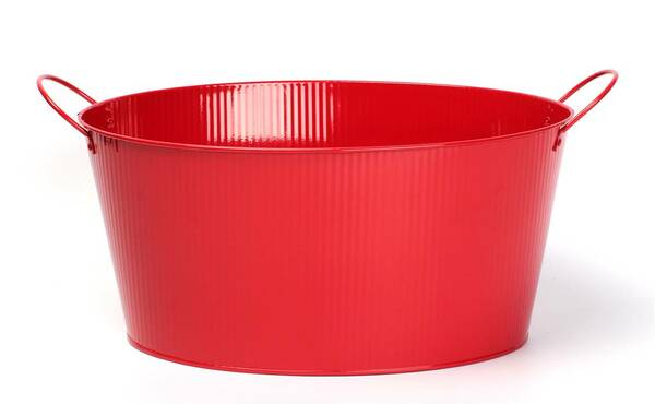 """CG147VRD Oval Red metal container with ear handles 15.2""""x11.2""""x7.2""""H (excluding handles)"""