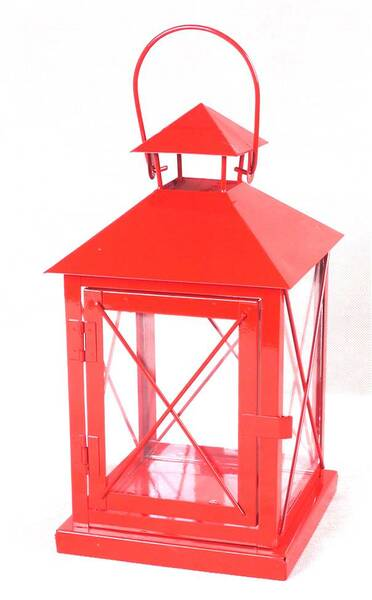 """CL105S11R Red iron and glass lantern 6""""x6""""x11""""H *can use as a basket too"""