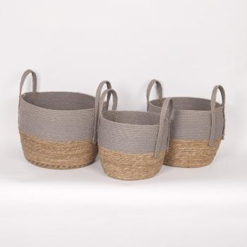 "Grey & Natural Straw Basket Small 10""d x 9""h - $19.99 Medium 12""dx11""h - $29.99 Large 14""d x 12""h  $39.99"