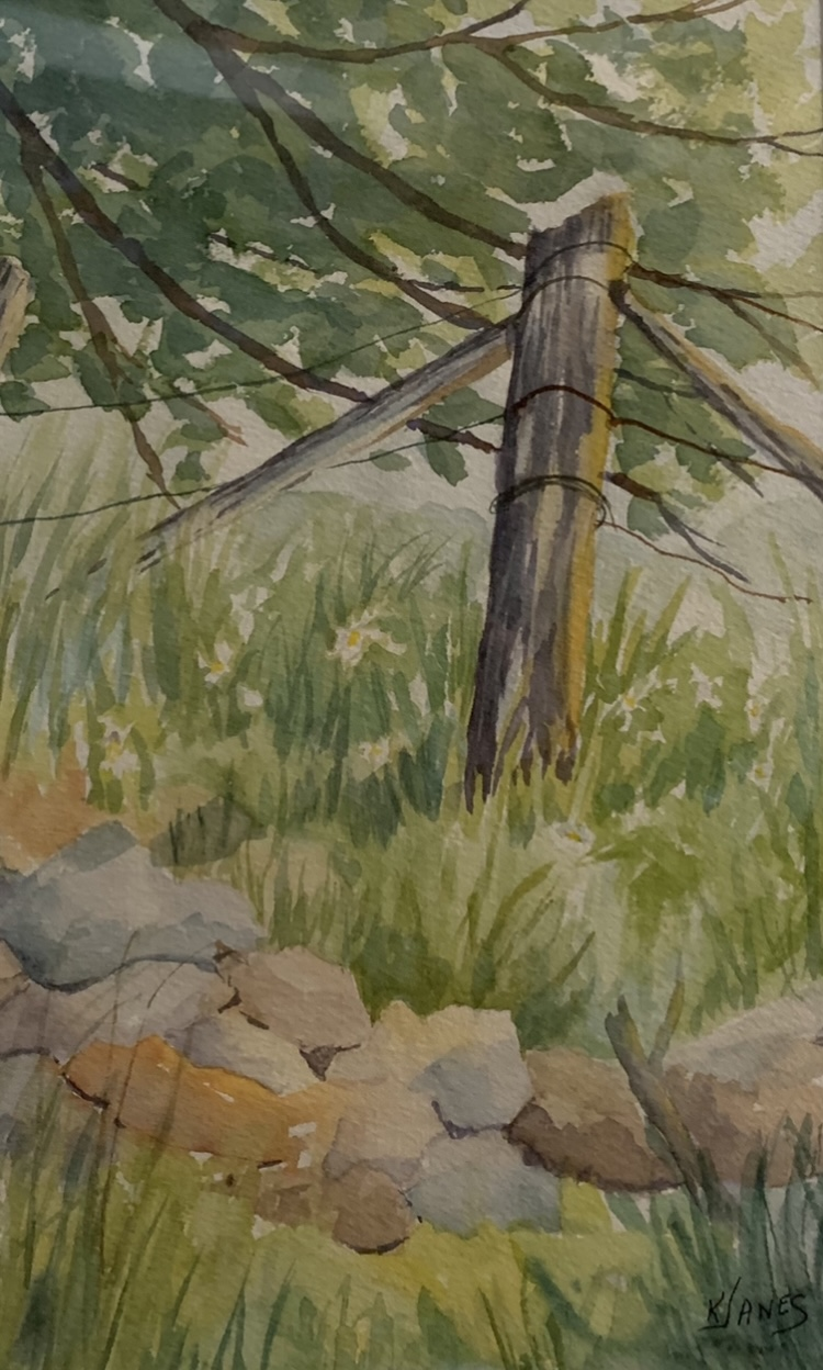 "Kay Janes  Fence Corner, not dated watercolour on paper 10"" x 6.5"" Value $85"