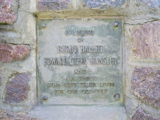 Close up of the memorial plaque.