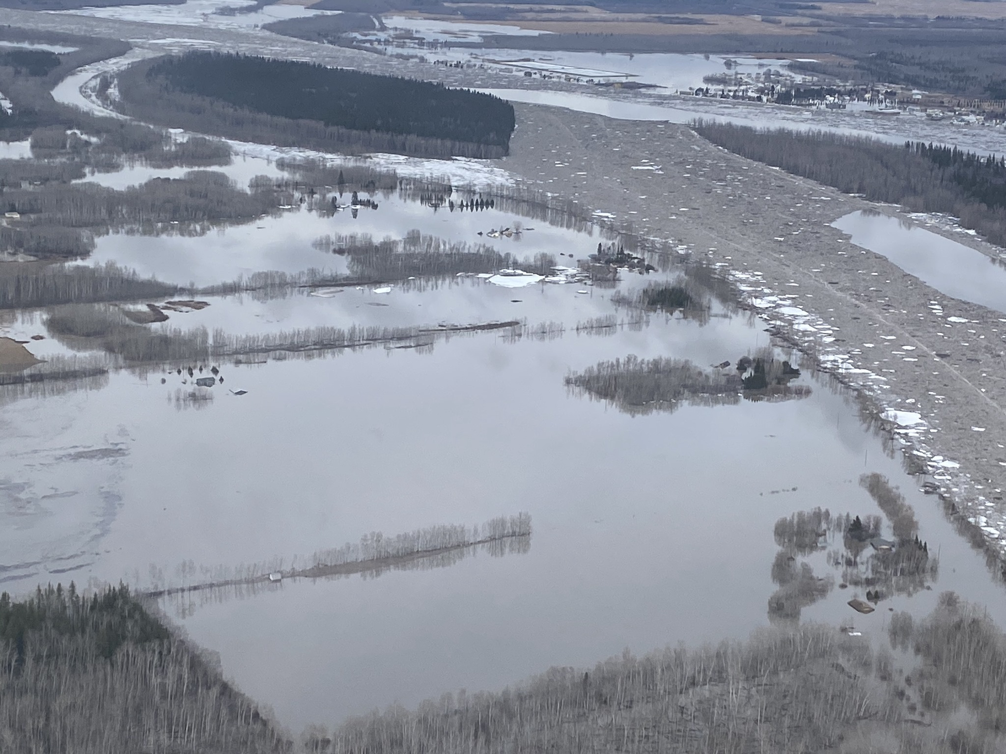 Buttertown flooded in spring of 2020. Facing south east - notice Fort Vermilion in top right corner.  Photo Credit: Jake Fehr