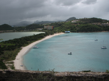 DEEP BAY ANTIGUA FROM THE FORT AT THE TOP OF THE HILL. COMPASS ROSE X IS THERE TOO.