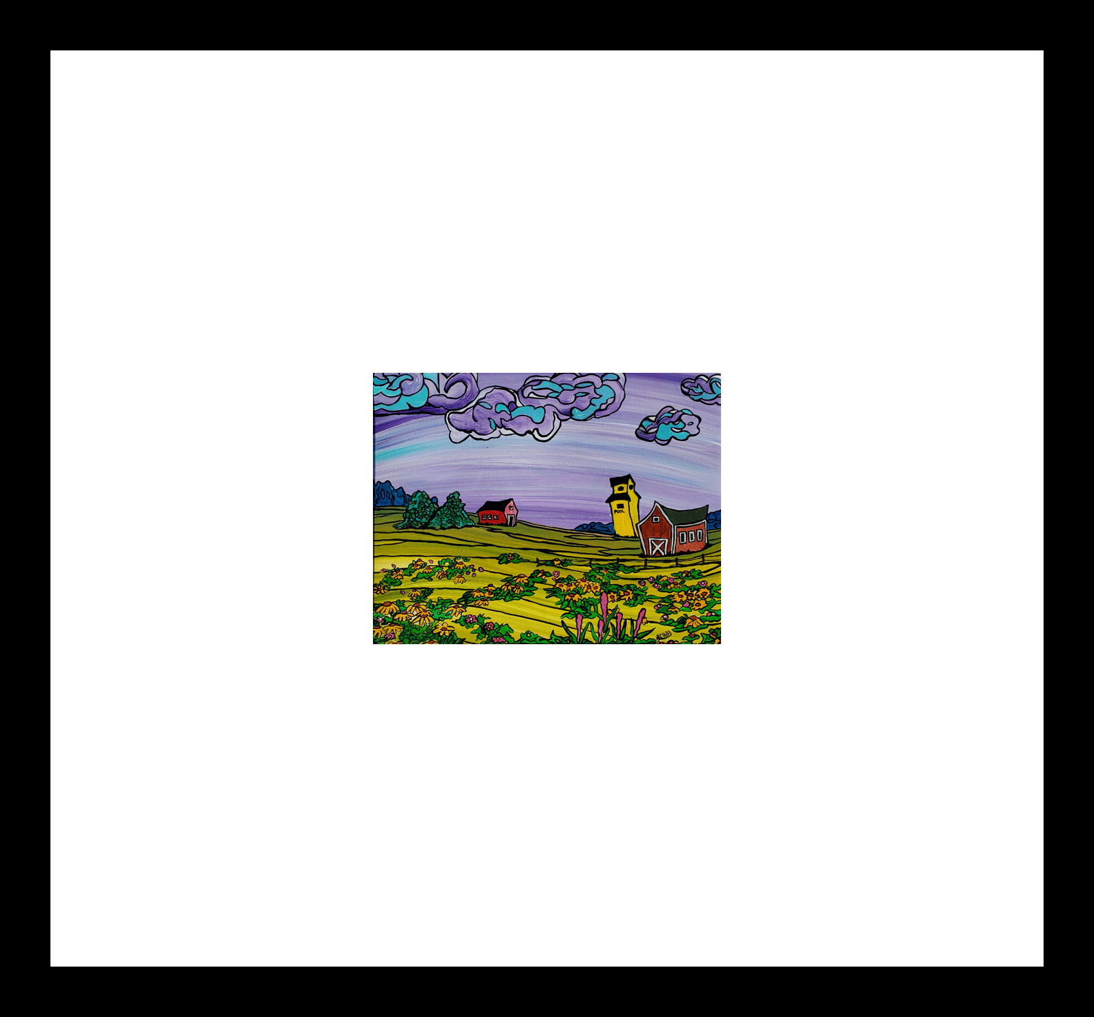 "2019-14 ""Prairie Flowers"" Image: 9.5"" x 7.5"" Framed: 20"" x 20"" Acrylic on 246 lb paper $275.00"