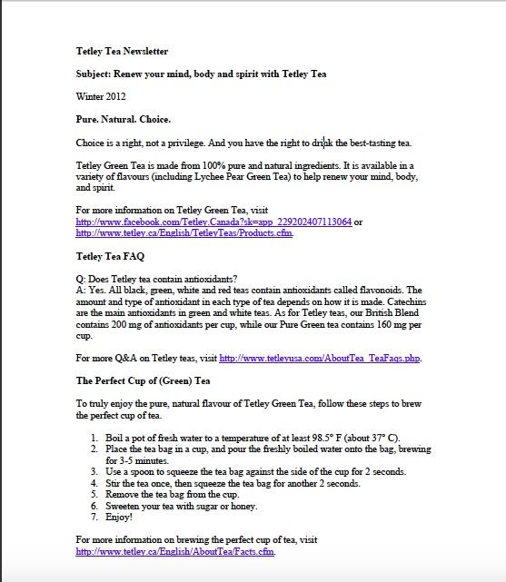Tetley Newsletter