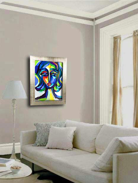 Blue Woman Expression painting - artist Martina Shapiro