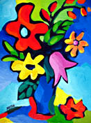 """SOLD to Vence, France """"Floral Expression On Blue"""" original oil on canvas painting, 9x12 inches"""