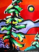 "SOLD to BC, Canada.  ""West Coast Tree"" original painting in ink and acrylic  on paper, 15 x 20 inches"