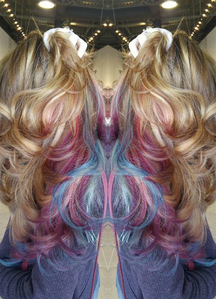 Blonde, Pink and Purple Balayage
