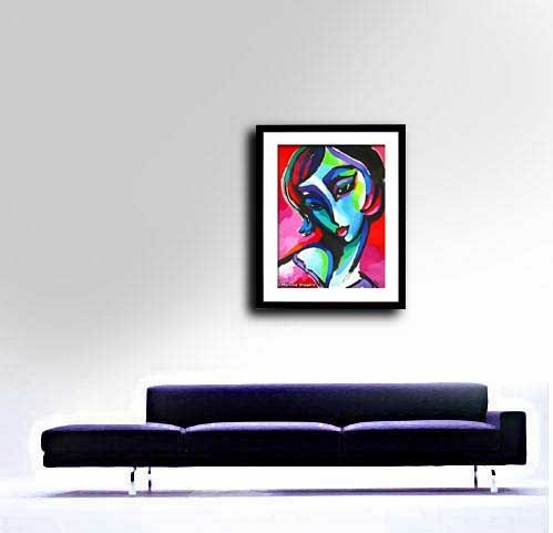 abstract contemporary original painting of woman on red by artist Martina Shapiro