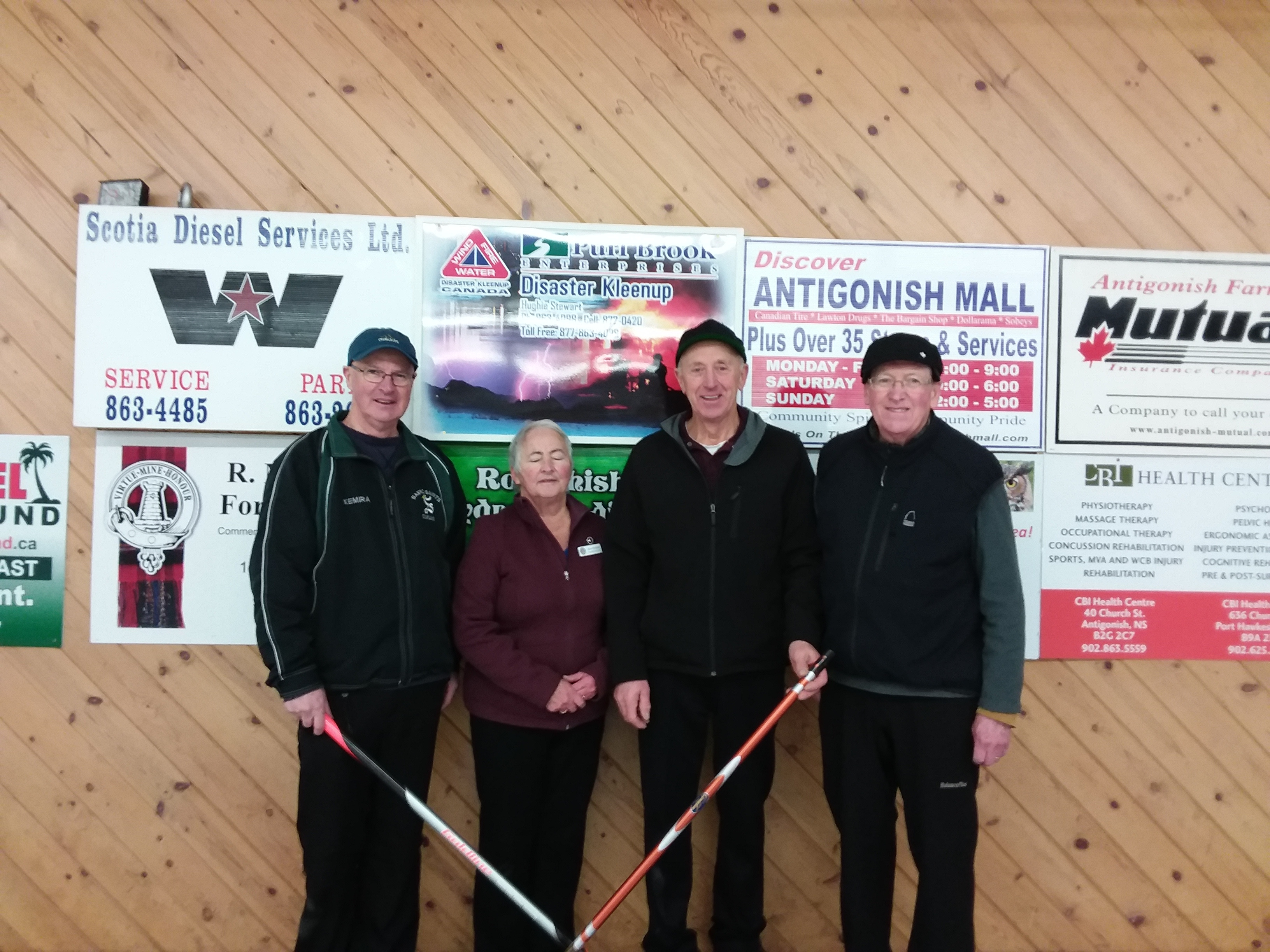 Thursday Seniors Second place winners L-R : Cyril Gillis, Joan Chisholm, John Rogers, Colin MacGillivray