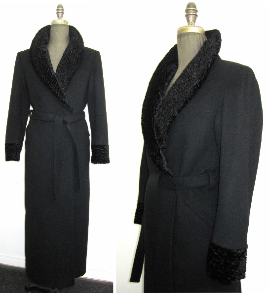 Style #2611-Shawl Collar - Black Shown in a 50% Cashmere Blend  Features: Full length, wrap style coat has an  open pleat in the back and is trimmed with faux persian lamb fur.   Includes extra buttons.  Chamois lined for warmth.  In-Stock Colours:  Black, Navy, Ruby Red.   Can be custom made in any colour or fabric.   Made From Fabrics Imported From Italy and Other  European Countries: Cashmere,  Cashmere Blend, Alpaca 100% Pure Virgin  Wool, boiled wool and more.  Can be custom ordered.  Size: S,M,L  Price:$ 750 and up depending on fabric.