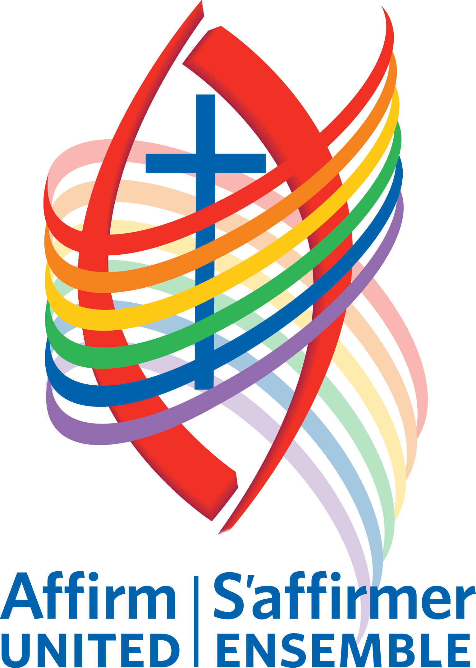 Affirm United logo: a blue cross surrounded by a rainbow swirl