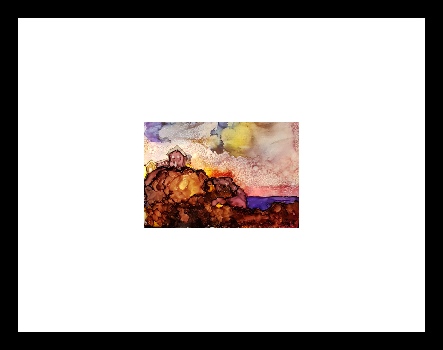 """Seaside Retreat"" {2019} Image: 7"" x 5"". Framed: 16"" x 10"" Alcohol Ink on Yuppo $175.00"