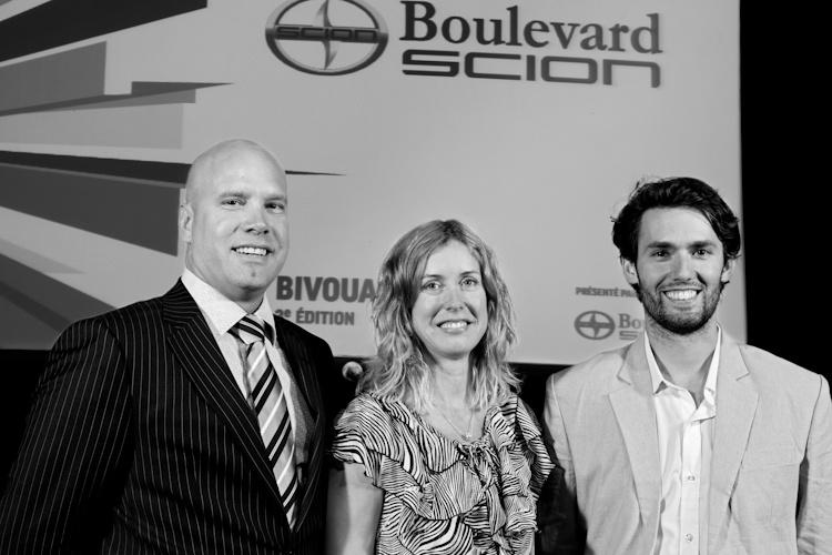 Patrick Baril, Julie  Lemieux et Philippe  A. Lehoux, lors de la  Conférence de presse  sur le Bivouac urbain  Québec 5 juillet  2011 TlX1487  nblab