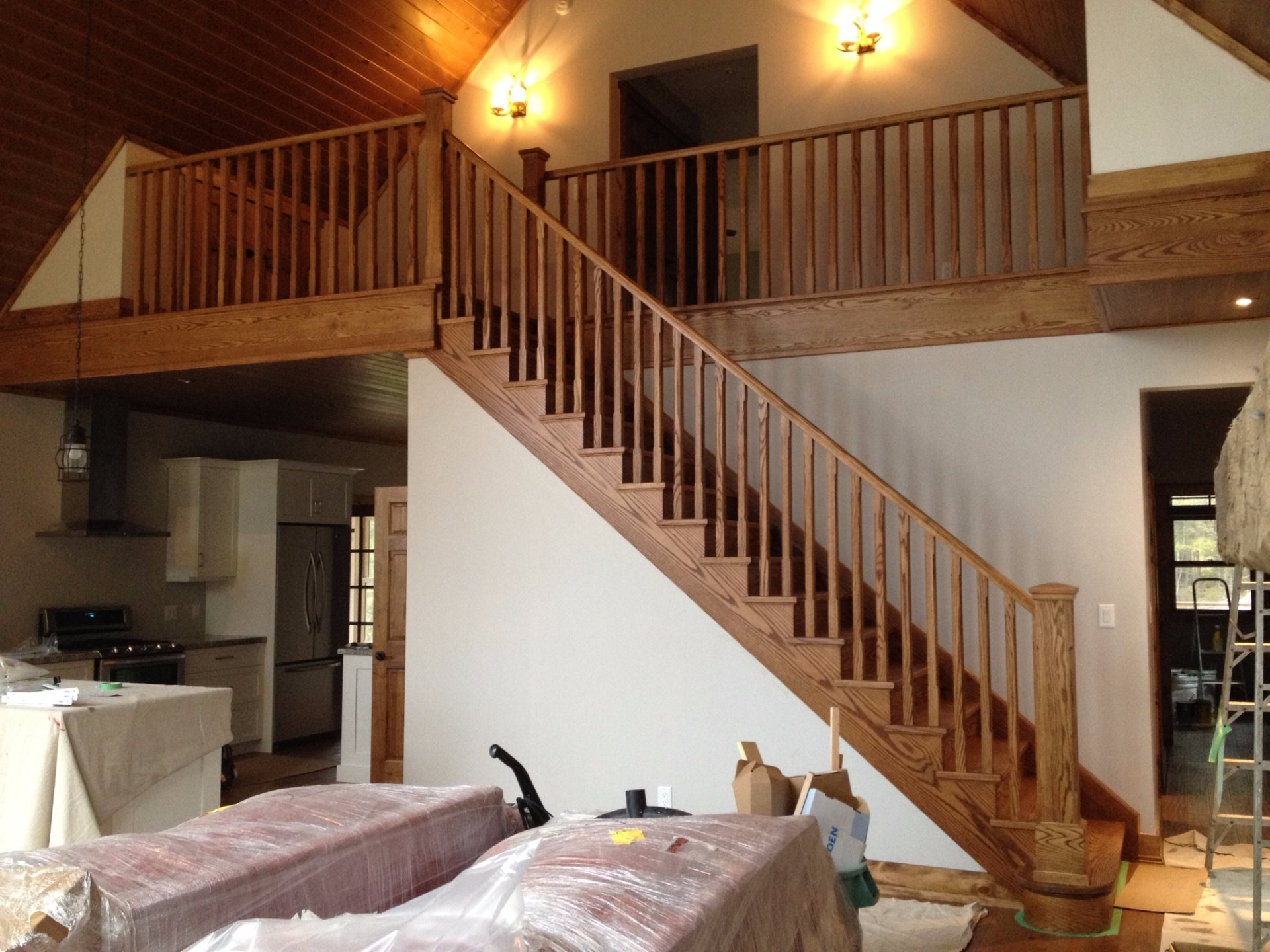 Straight red oak stair