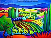 abstract vineyard landscape painting