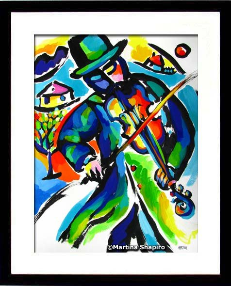 Example of framing - Fiddler Abstraction painting by artist Martina Shapiro