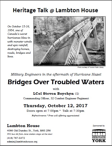 Poster for Hurricane Hazel talk October, 12, 2017