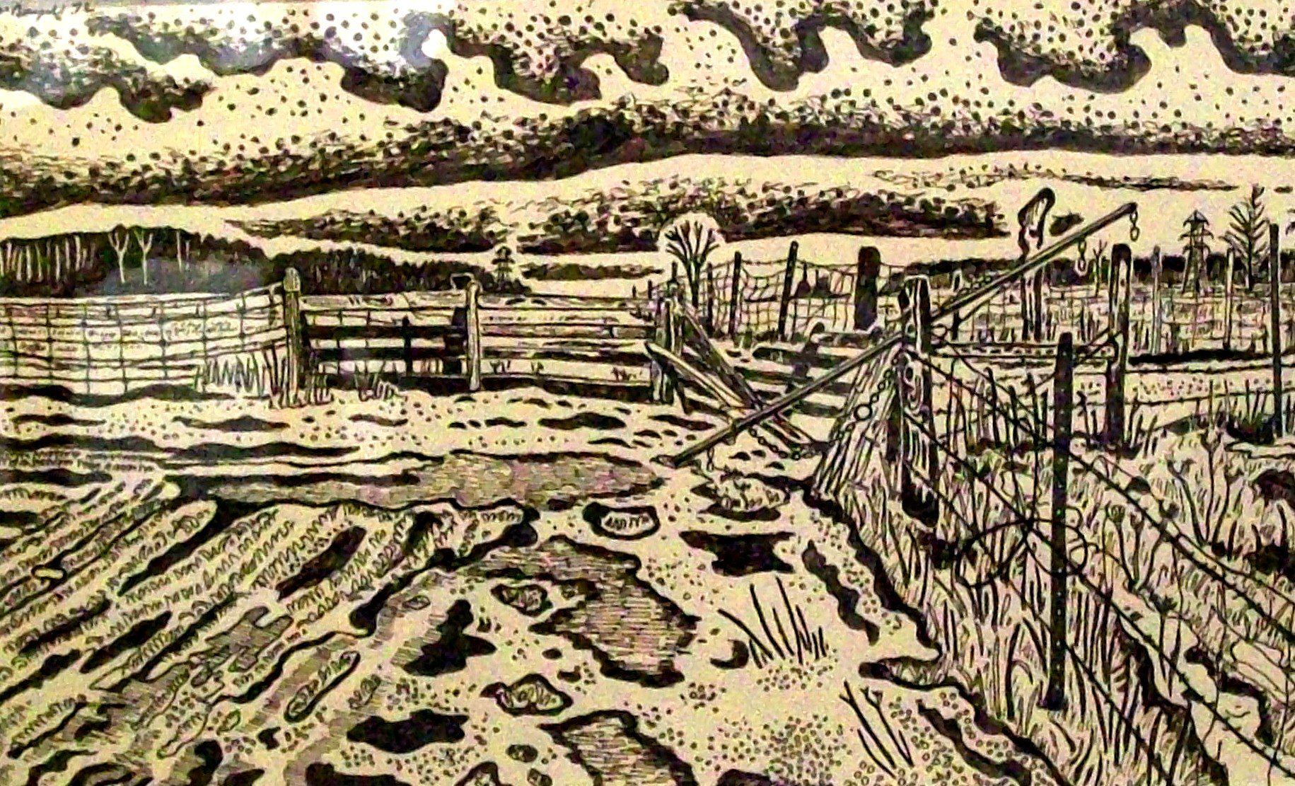 Fence Watson's Farm, ink on newsprint