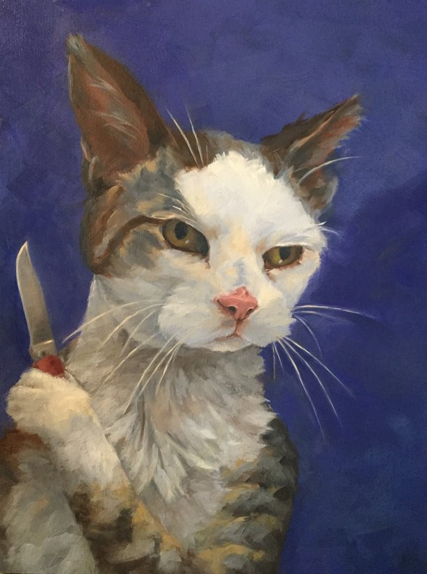 "Curiosity Killed the Other Cat 12"" x 16"" oil on wood panel"