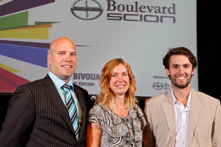 Patrick Baril, Julie  Lemieux et Philippe  A. Lehoux, lors de la  Conférence de presse  sur le Bivouac urbain  Québec 5 juillet  2011 TlX1487