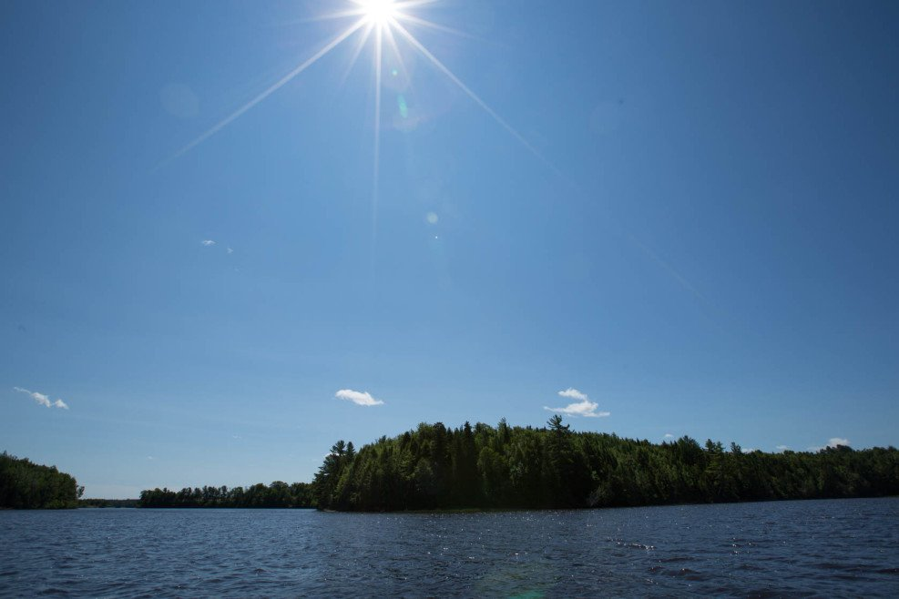 A view of Lots 14-43, 14-42, and 14-44 from the Molus River, a quiet, treed paradise