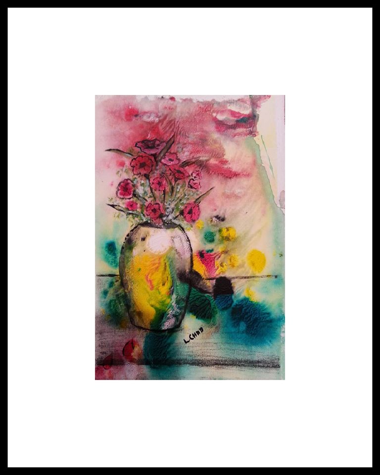 """Poppies"" [2015] Mixed Media on paper 6"" x 9"" (image). 12"" x 15"" (framed). SOLD"