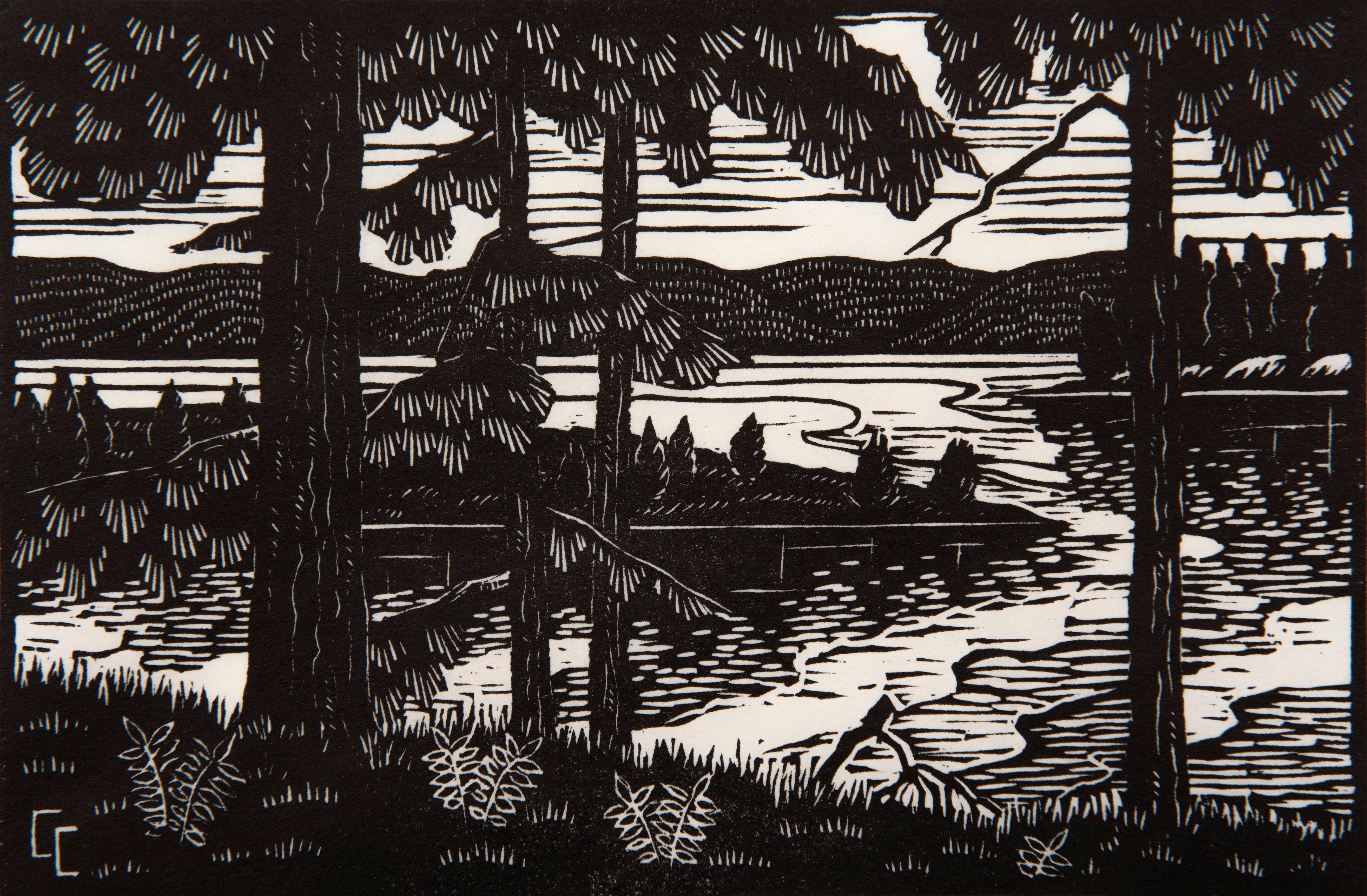Carolyn Curtis,  Northern Lake, 1943, Linocut print