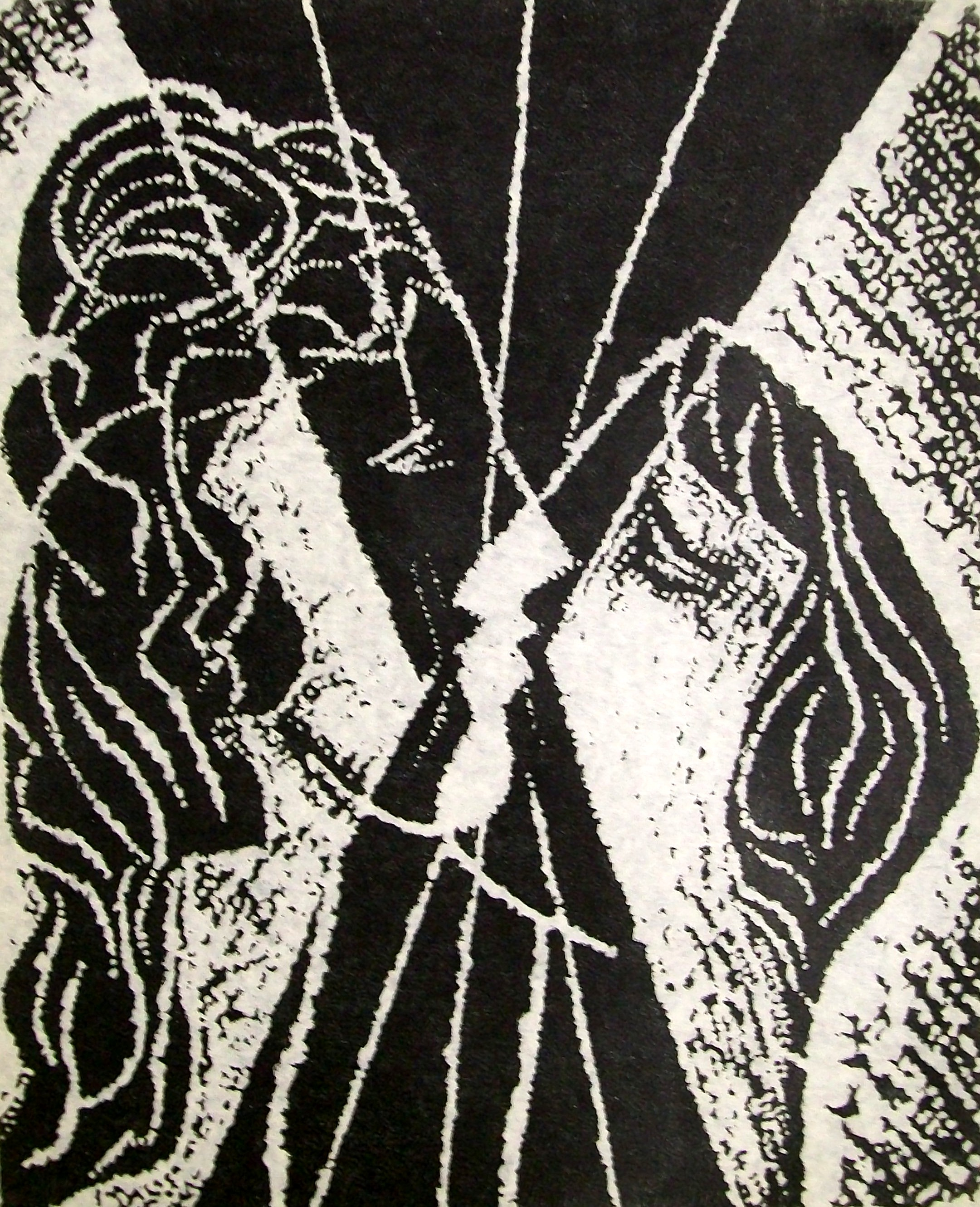 Stanley Lewis, Couple, Stone cut print on rice paper, 1971, 61.5x46cm