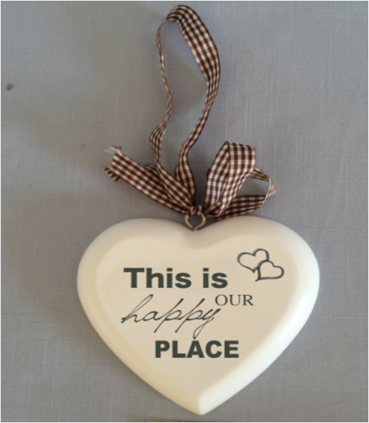 PAD146H Hanging heart ornament - This is our Happy Place