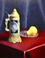 """Beer Stein, Plate, and Pear"" 16"" x 20"" Alkyd on hardboard $  3900"