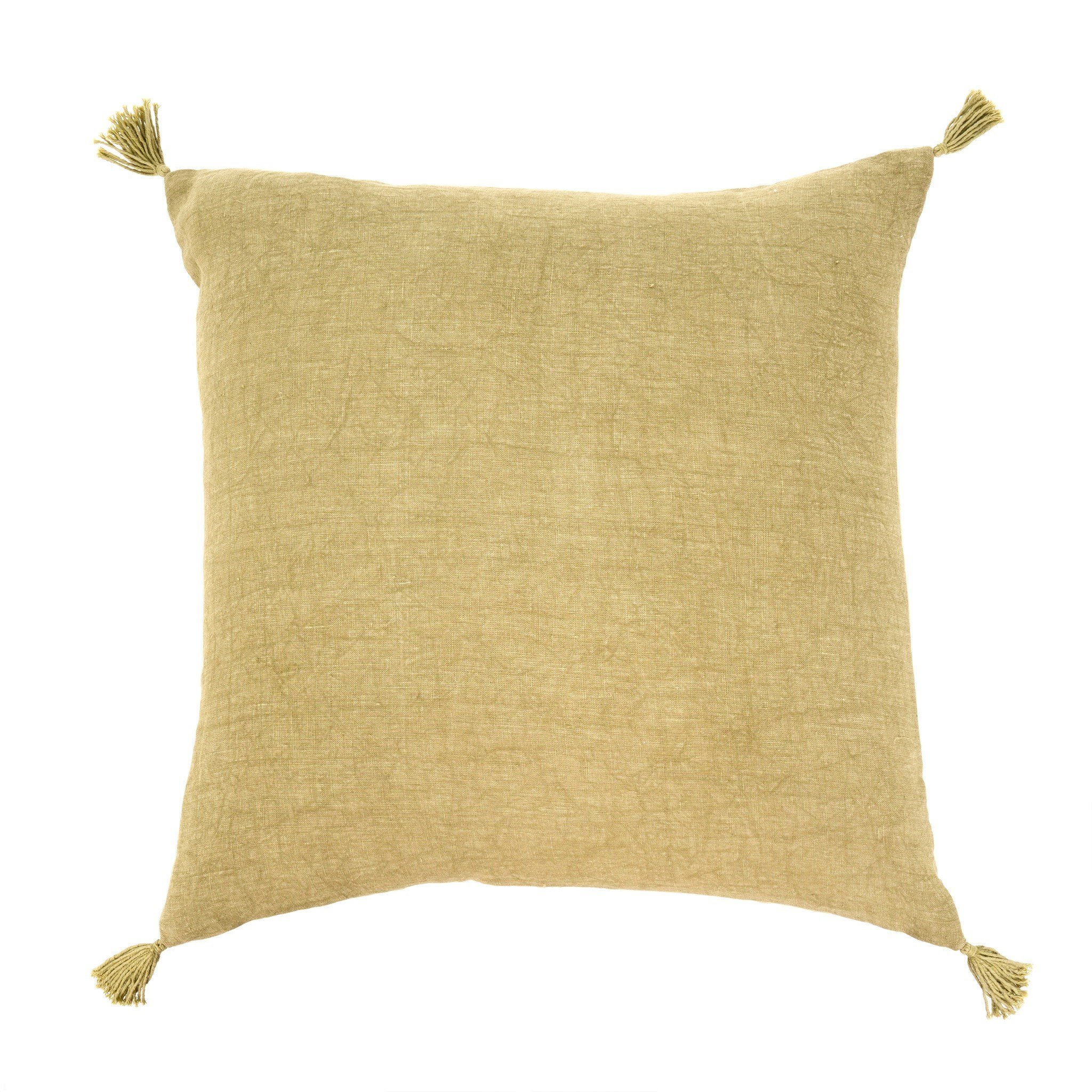 "20"" x 20"" Linen cover with corner tassels and removable feather insert.  Machine washable.  Made in India. $49.99"