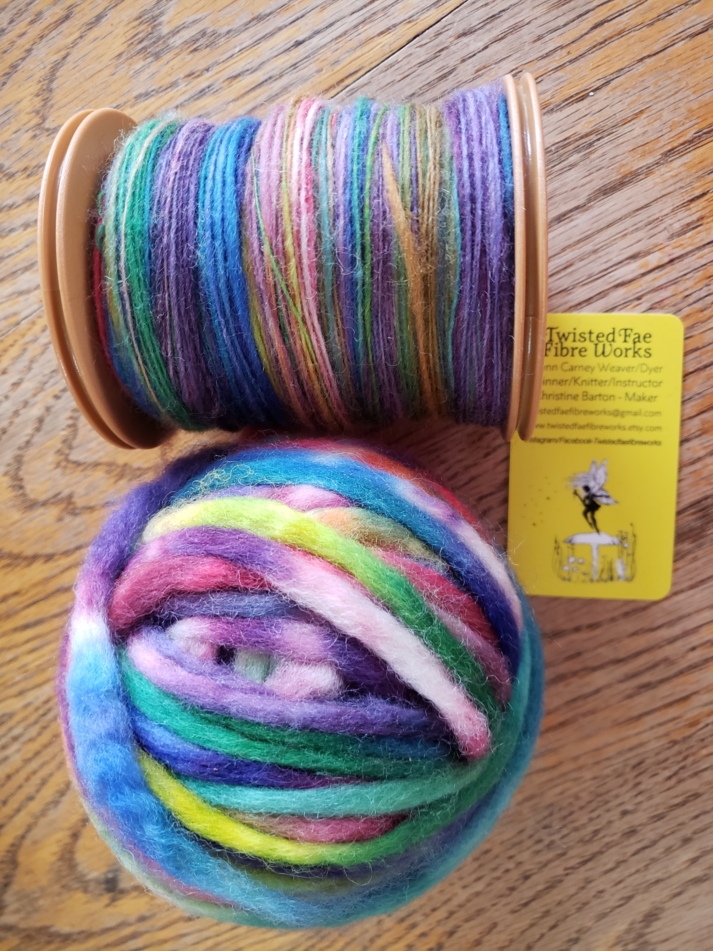 Birthe - dyed merino pencil roving from Twisted Fae Fibre Works and as a spun single.