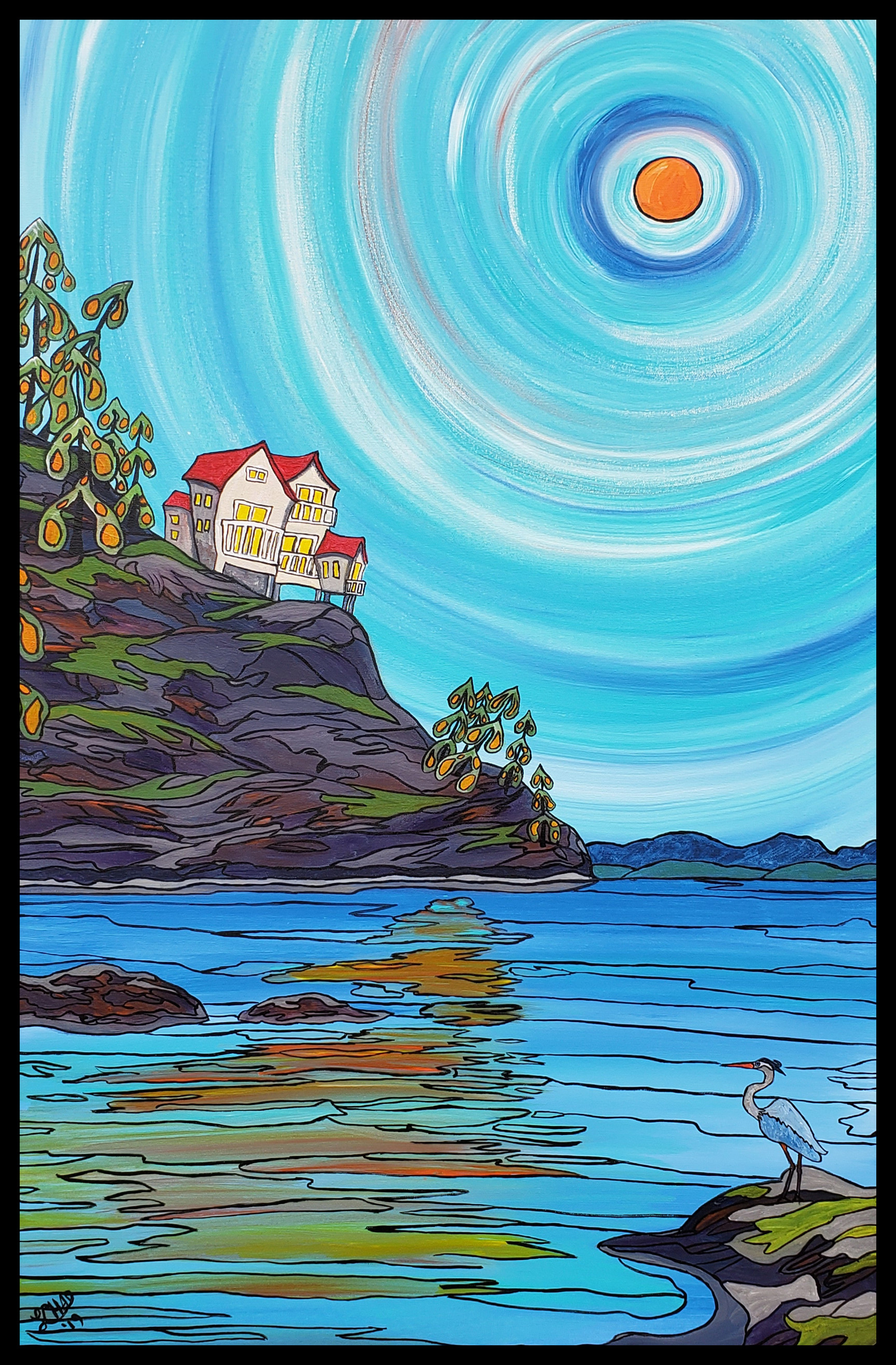 "2019-15 ""Living Seaside Image: 24"" x 36"" Framed: 27"" x 39"" Acrylic on professional canvas $1600.00"