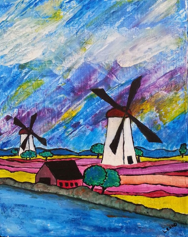 """Windmill Gardens"" [2015] Mixed media on canvas. 12"" x 14"" (finished) SOLD"