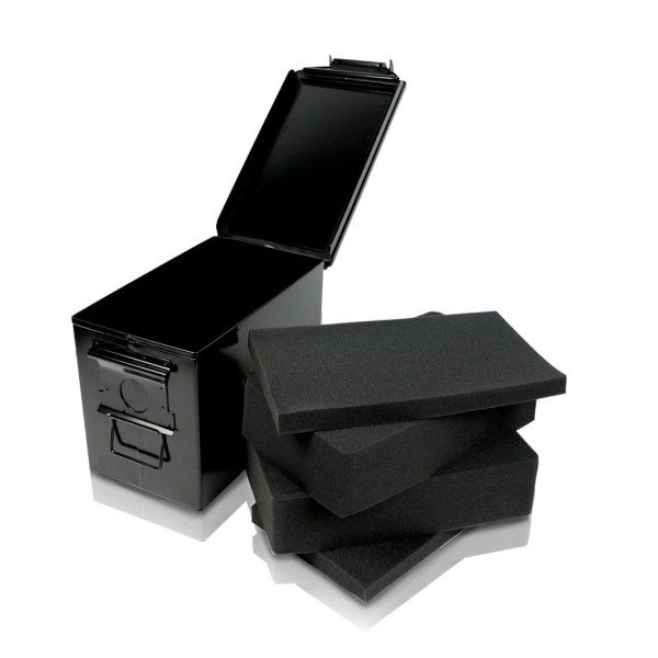 RYOT is already legendary for their storage solutions, but they've really destroyed the game with the heavy-duty Destroyer.  This impressive storage box is made with heavy steel and has a rubber o-ring lining and metal latch for an airtight and waterproof seal. The interior has a double layer of pick and pluck foam which perfectly encloses your valuable glass piece or desktop vape. Regardless of the condition, the Destroyer will keep your precious accessories safe.  The interior and interior are powder-coated for scratch resistance and the integrated lay flat carrying handle simplifies transport. The box measures 7 ¼ in width x 12 ⅞ in length x 9 in height with the lid attached (exterior dimensions). Available in black and olive.