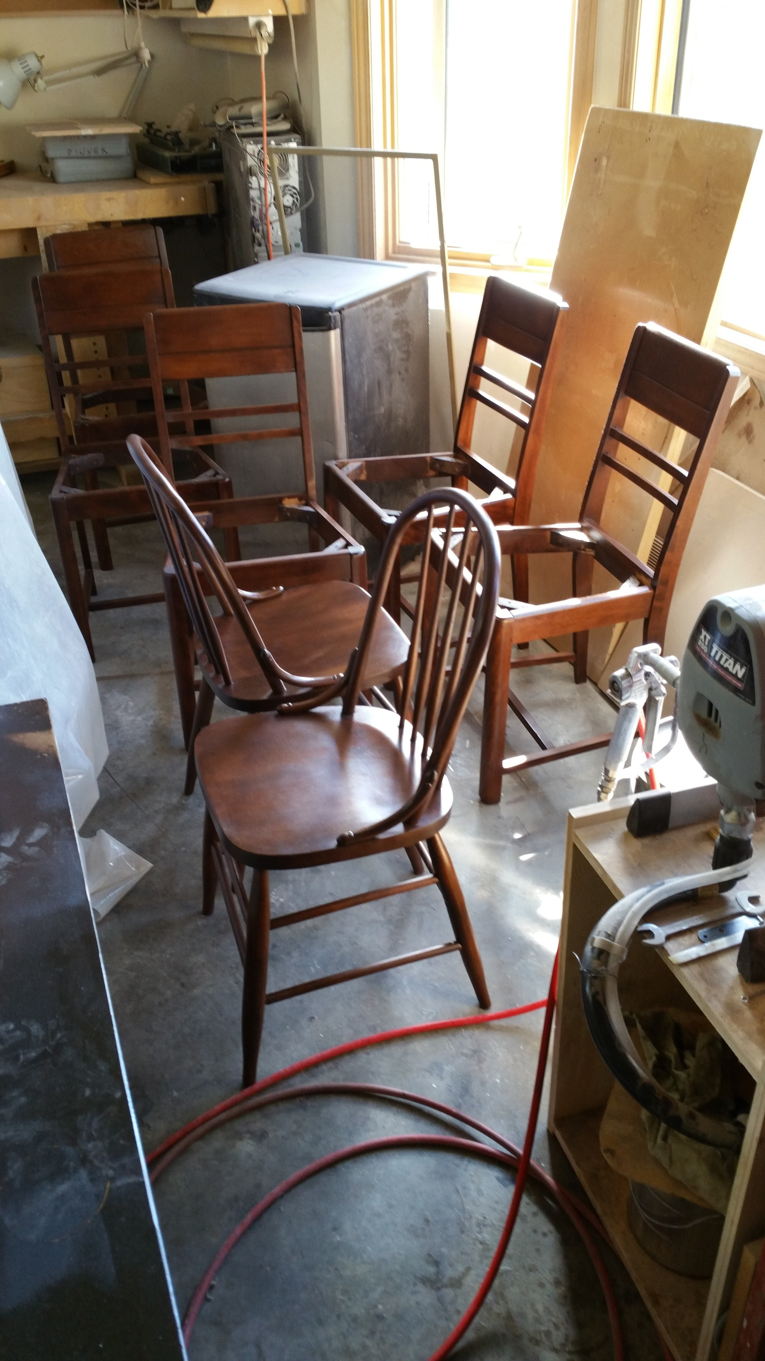 Chairs refinished to match table
