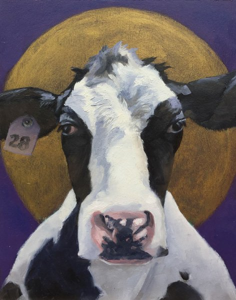 "Holy Cow 8"" x 10""  oil on birch panel"