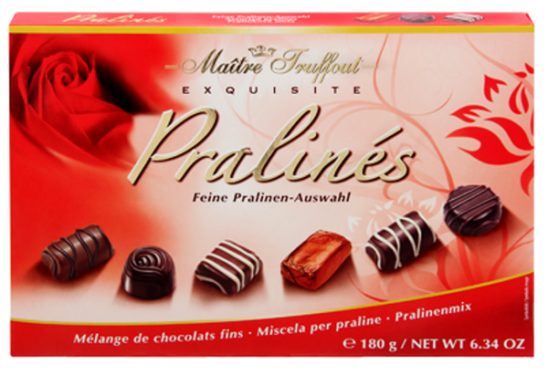 MT180RD Maitre Truffout assorted pralines Red Rose 180 gr