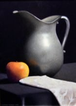 """Apple, Pewter Pitcher, and Napkin"" 18"" x 24"" Alkyd on hardboard $2600  sold"