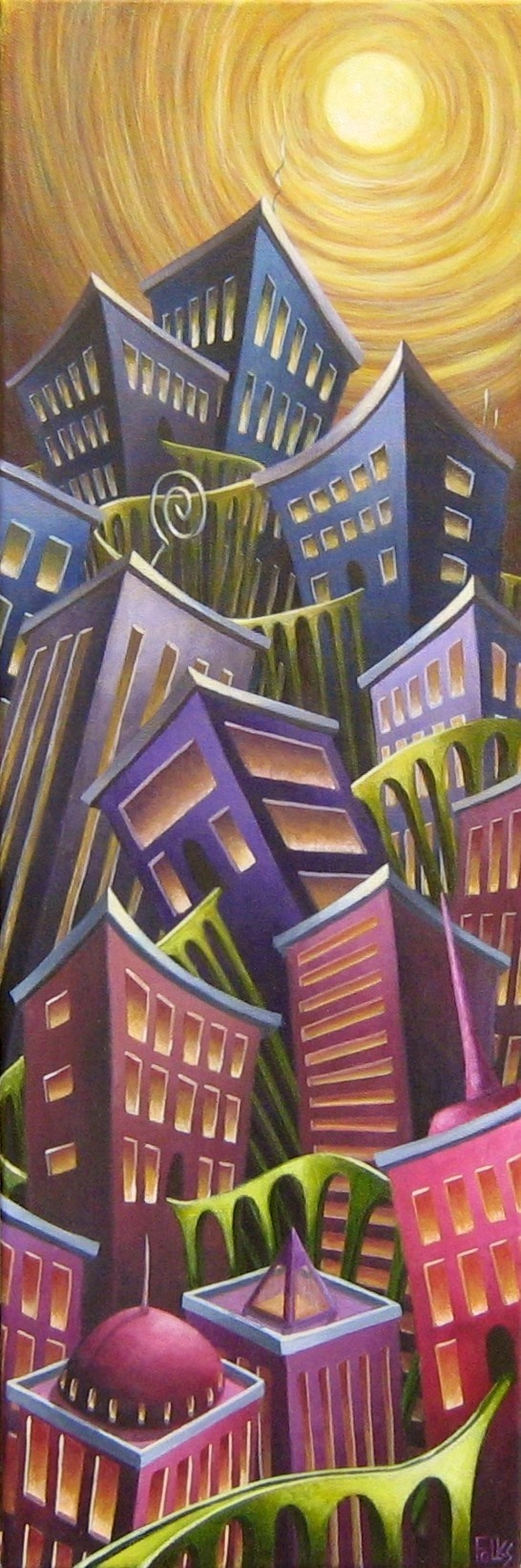 "Urban Tranquility 12x36"" Acrylic on canvas"