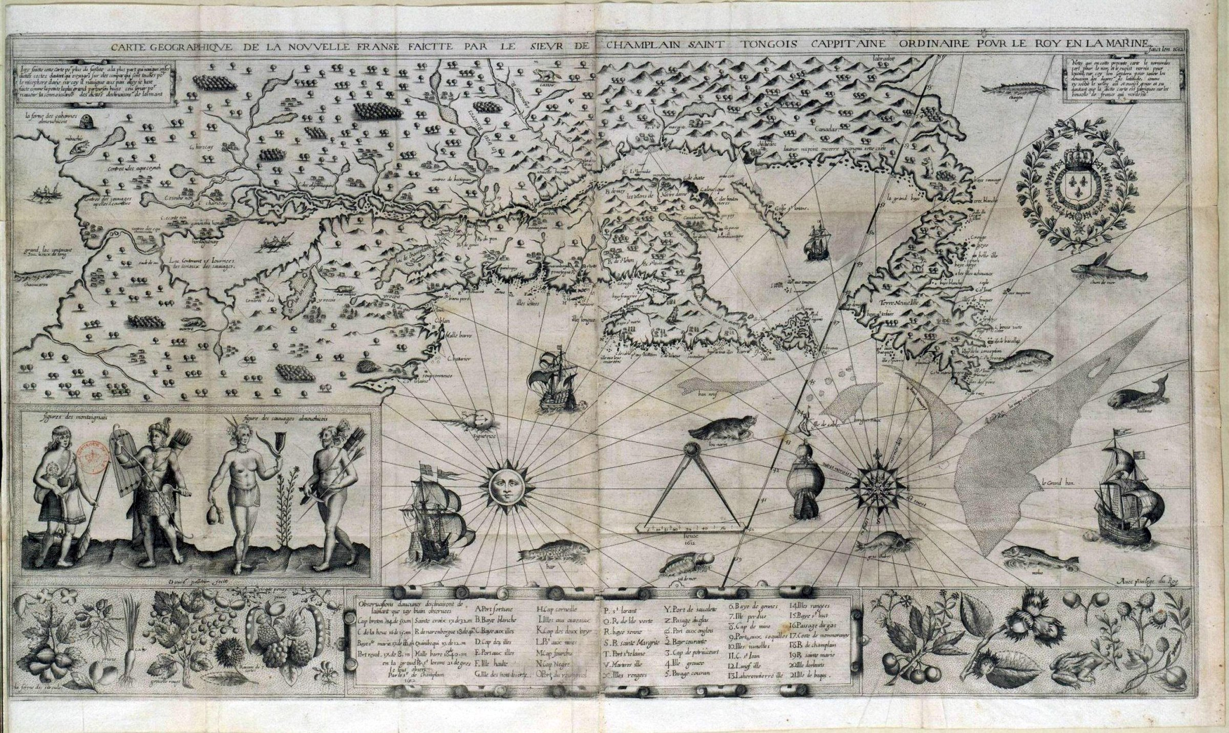 Map from Samuel Champlain's Voyages, published  in 1613