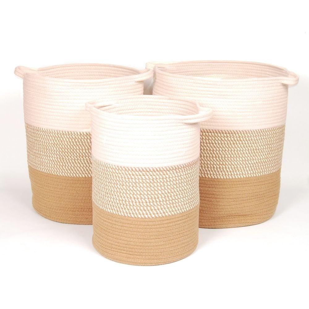"Soft Cotton Laundry Hamper Small  $29.99 Medium  $59.99 Large 16""d x 19"" $89.99"