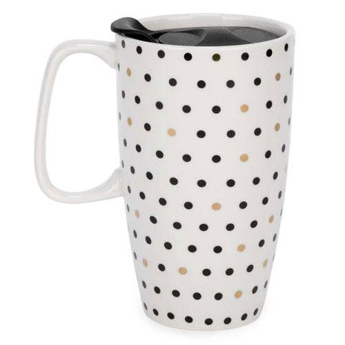 """Ceramic Polka Dot Travel Mug 4"""" x 6"""" $12.99"""